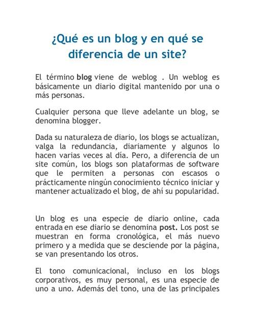 Qué es un blog y en qué se diferencia de un site