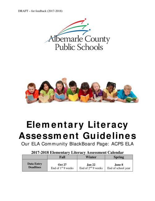 Elem Lit. Assessment Guidelines DRAFT 17-18