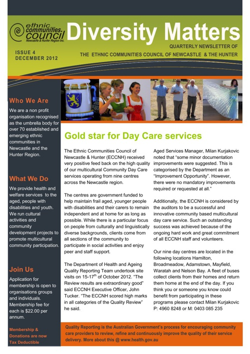 Diversity Matters Newsletter - December 2012