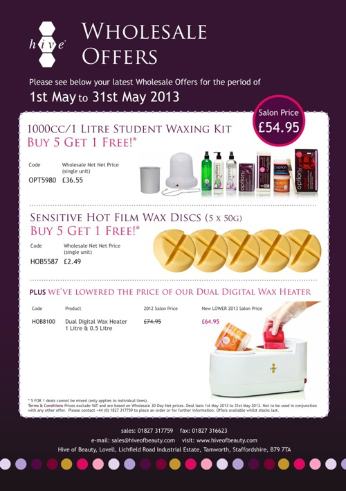 promotions wholesalers May-July 2013
