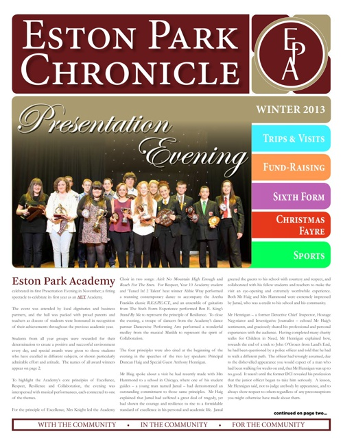 Eston Park Academy Chronicle Winter 2012