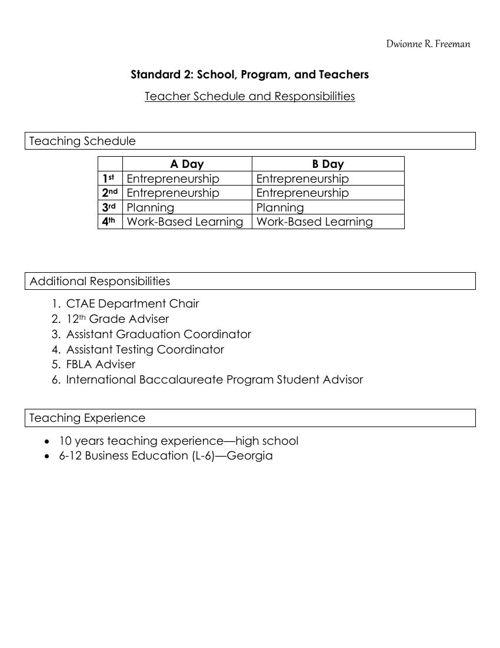 Standard II--Teacher Schedule and Responsibilities (Freeman)