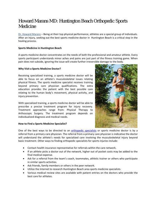 Howard Marans MD: Huntington Beach Orthopedic Sports Medicine