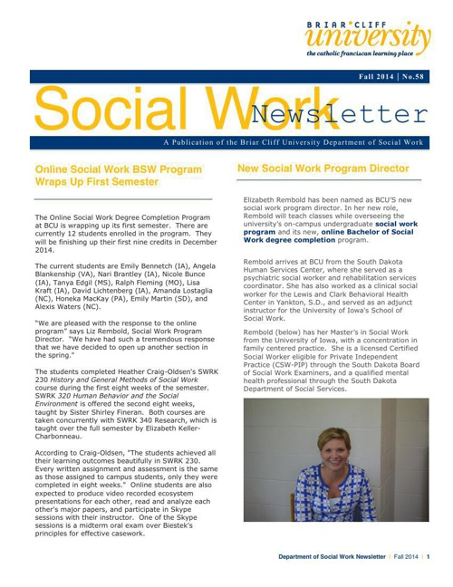Social Work Newsletter | Briar Cliff University
