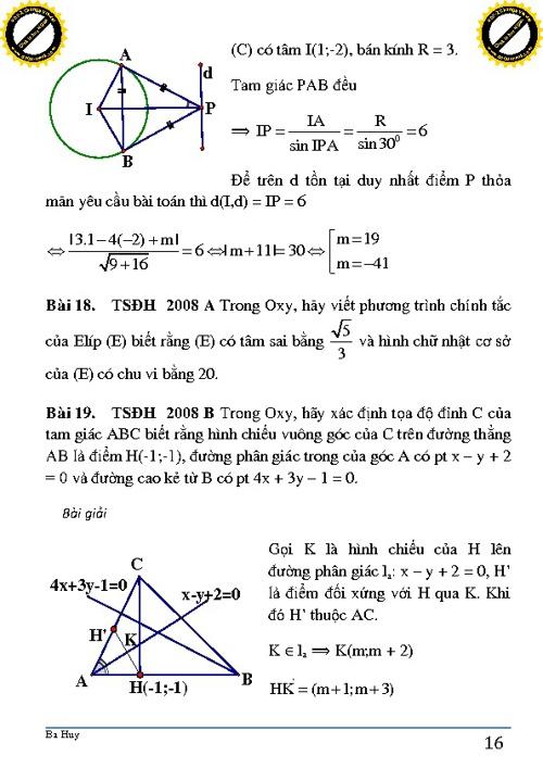 CĐ9. Hình học giải tích trong mặt phẳng (p2)