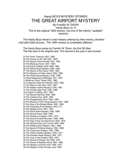 The Great Airport Mystery - Franklin W. Dixon