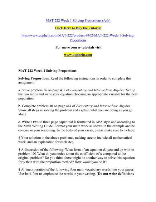 MAT 222 Week 1 Solving Proportions
