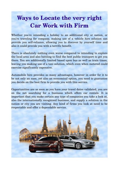 Ways to Locate the very right Car Work with Firm