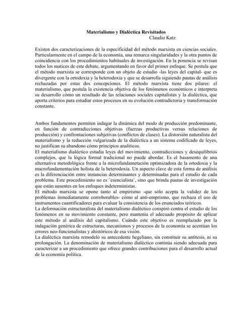 Materialismo y dialectica - Claudio Katz