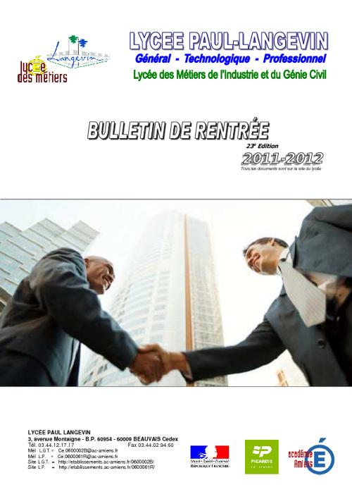 Bulletin de rentrée 2011/2012