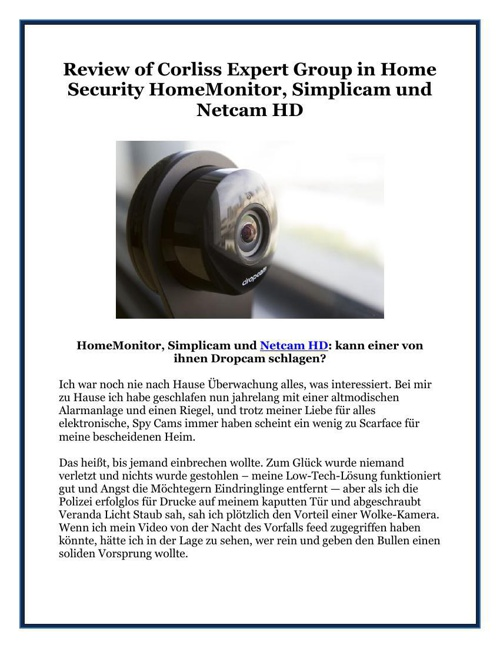 Review of Corliss Expert Group in Home Security HomeMonitor, Sim