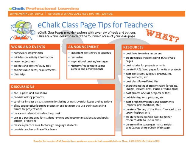 eChalk Teacher Class Page Tips