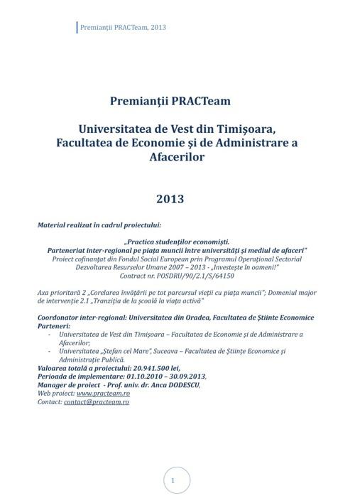 PRACTeam - Volum prezentare Premianți Timișoara, 2013