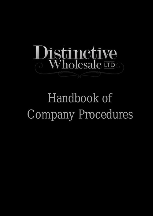 Distinctive Wholesale Ltd - Handbook of Company Procedures