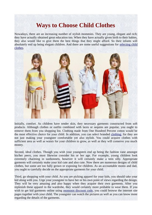 Ways to Choose Child Clothes