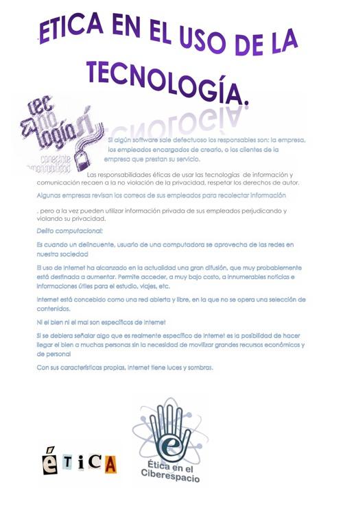 Cartel: Uso de la etica en el internet