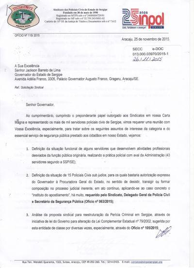 SINPOL SERGIPE reitera antigas reivindicações ao Governador do E