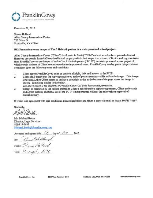 7 Habits permission letter