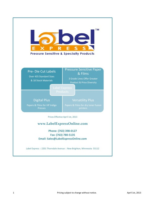 Label Express Price Page