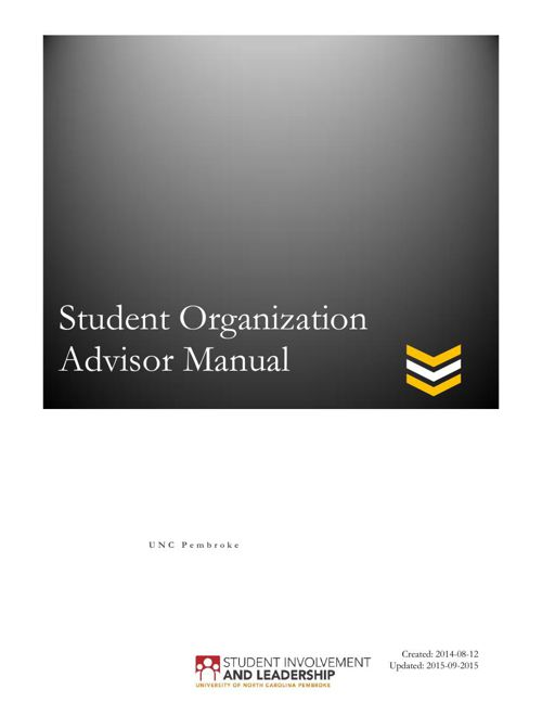 UNCP Student Organization Advisor Manual