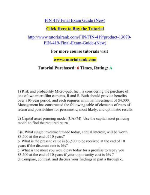 FIN 419 Potential Instructors / tutorialrank.com