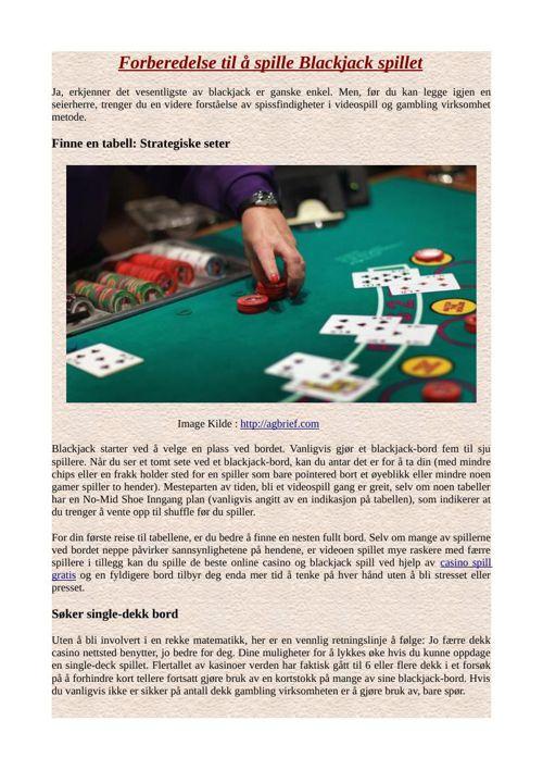 Forberedelse til å spille Blackjack spillet