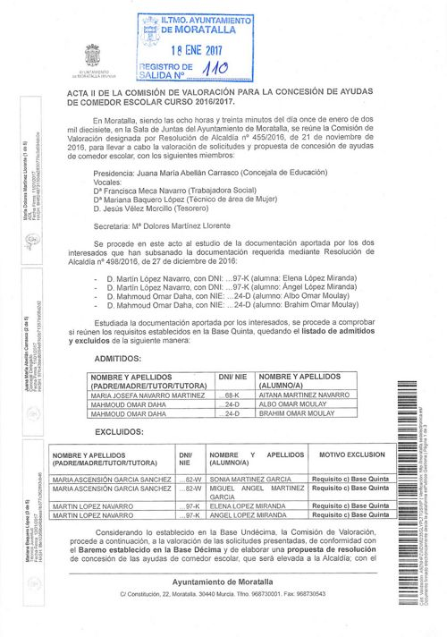 ACTA II COMISION VALORACION AYUDAS COMEDOR ESCOLAR