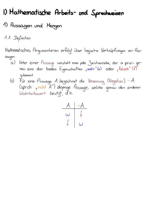 Grundlagen der Mathematik (bis Kapitel 8)