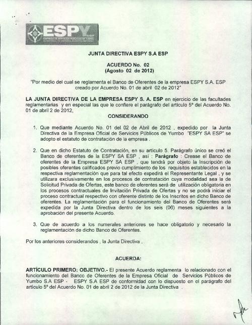 ESPY CREA BANCO DE OFERENTES MEDIANTE ACUERDO 02 DE 2012