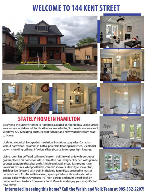 144 Kent Street Hamilton Feature Sheet