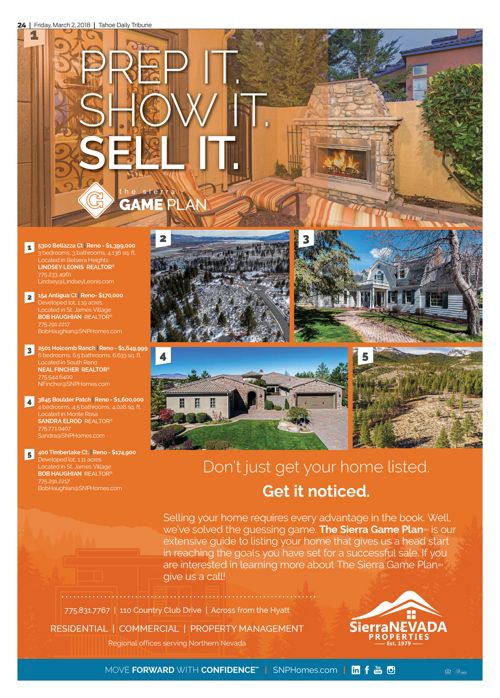 SNP Homes for sale in the Tahoe Tribune March 2