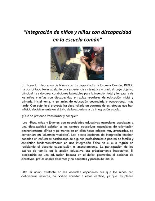 INTEGRACION A NIÑOS NEE AL AULA REGULAR
