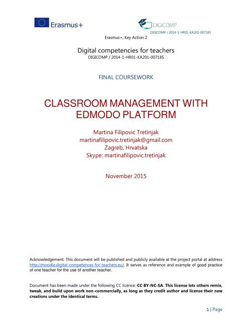 Classroom management with Edmodo platform