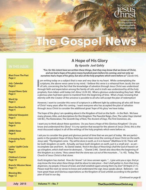 Gospel News JUly 2015