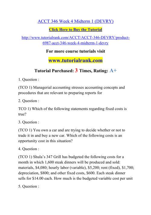 ACCT 346 Course Success Begins / tutorialrank.com