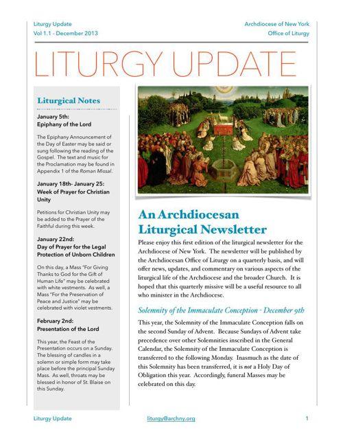 Liturgy Update December 2013