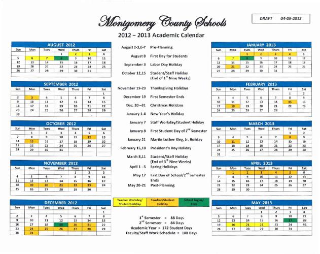 MCHS School Calendar