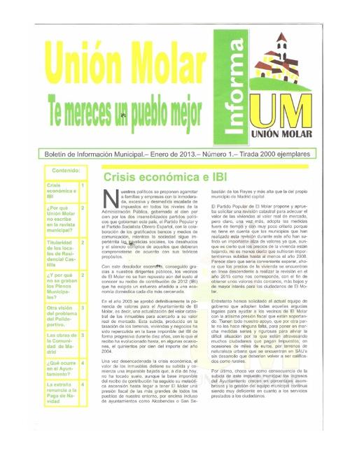 Enero 2013.  Unión Molar. Boletín de Información Municipal.