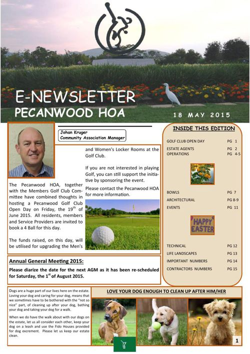 E-newsletter - No 2 - 19 May 2015.
