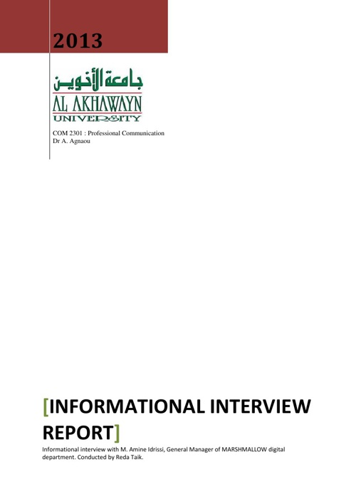 TAIK REDA informational interview spring 2013