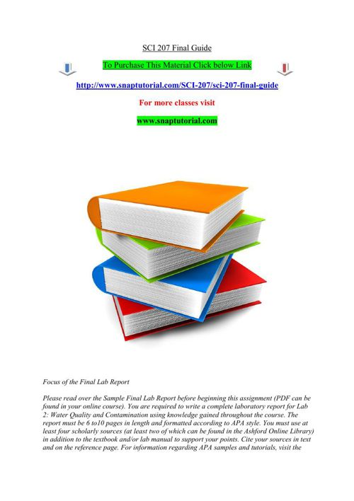 SCI 207 Final Guide