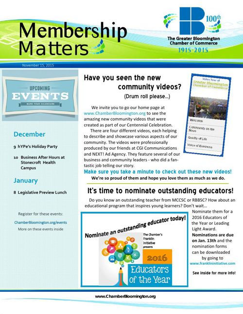 Membership Matters is Here for 12-4-15