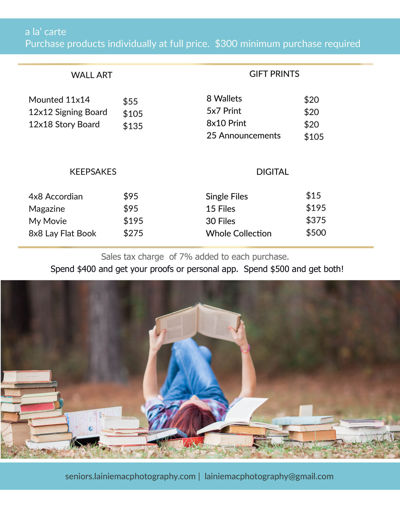 LainieMac Photography Senior Pricing Guide