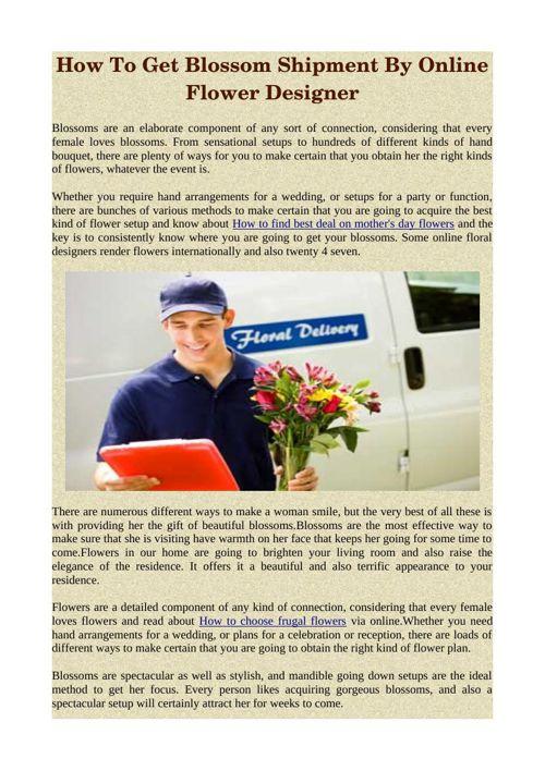 How To Get Blossom Shipment By Online Flower Designer