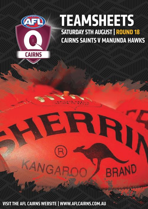 AFL Cairns Teamsheets Round 18