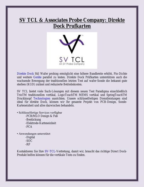 SV TCL & Associates Probe Company: Direkte Dock Prufkarten