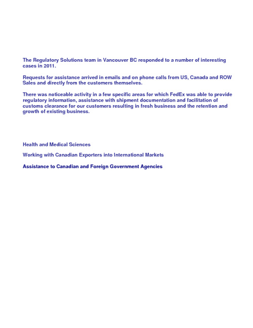 Regulatory Solutions Cases 2011