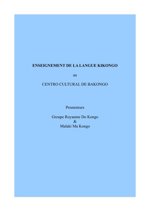 Cours de Kikongo du 05 au 12 Jan. 2013