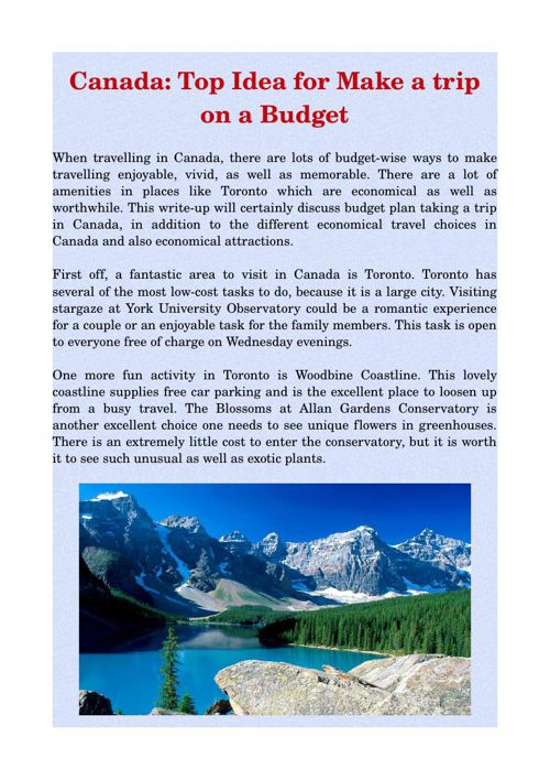 Canada: Top Idea for Make a trip on a Budget