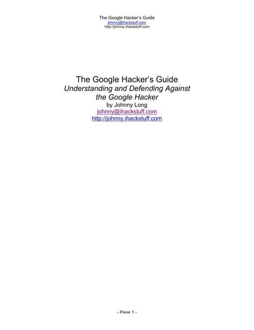 The Google Hackers Guide v1.0